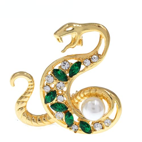 JIANCHEN Rhinestone Snake Brooches Vintage Crystal Pearl Animal Pins Jewelry Women and Men Banquet Brooch Pins