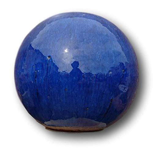 terracotta-toepfe-de 2. Wahl !! Aktion !! Kugel ca. 30 cm aus Steinzeug Keramik, blau glasiert Deko Garten