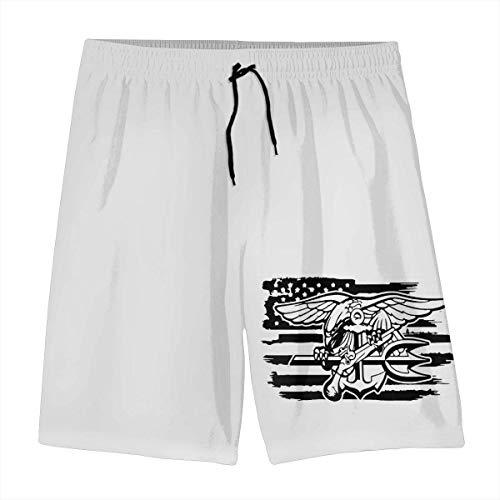 Ccsoixu American Flag US Navy Seals Special Forces Summer Swim Trunks 3D Print Beach Board Shorts Elastic Waist for Teen Boys&Girls,L