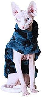 Khemn LUXURY丨HANDMADE丨Winter Warm Blue/Black Cat Sweater with Double-Thick Cotton, Best for Hairless Cat