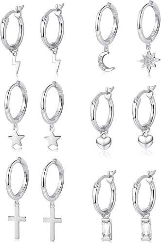 Adramata 6Pares Juego de Aretes Colgantes Huggie para Hombres y Mujeres Corazón Cristal Estrella Lunar Asimétrico Pendientes de Acero Inoxidable Joyería de Moda