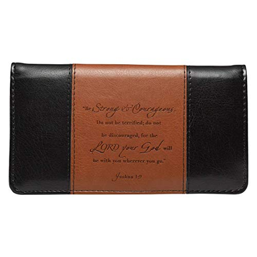 """Checkbook Cover for Women & Men """"Strong & Courageous"""" Christian Black and Tan Wallet, Faux Leather Christian Checkbook Cover for Duplicate Checks & Credit Cards - Joshua 1:9"""