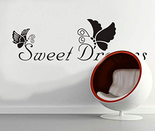 Sweet Dreams Butterfly Adhesivos de pared en blanco y negro Adhesivos de pared estéreo Se pueden quitar Pintura decorativa mural autoadhesiva