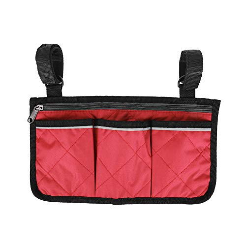 Keenso Rollstuhl Seitentasche Organizer, 600D Oxford Stoff Rollstuhl Armlehne Organizer Armlehne Seitentasche Für Zuhause/Outdoor/Auto(Weinrot)