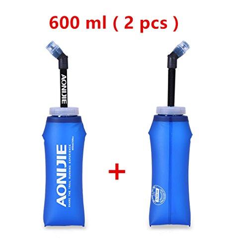 AONIJIE 2 Stück Faltbarer BPA frei TPU Trinkflaschen Wasserbeutel mit Stroh (600ML)