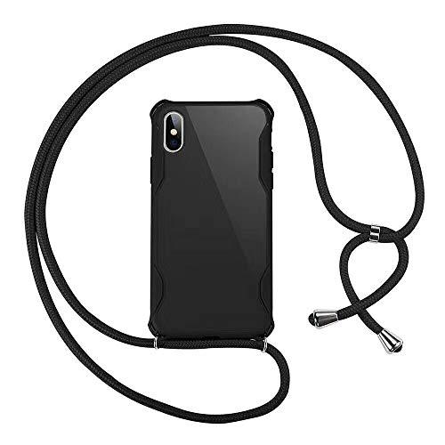 SevenPanda Crossbody Hülle für iPhone 11 Pro - Handyhülle aus Weichem TPU mit Halskettenhalterung für Smartphone Hülle - Schwarz
