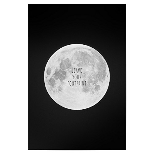 artboxONE Poster 30x20 cm Typografie Lassen Sie Ihren Fußabdruck - Bild Fußabdruck Mond Universum