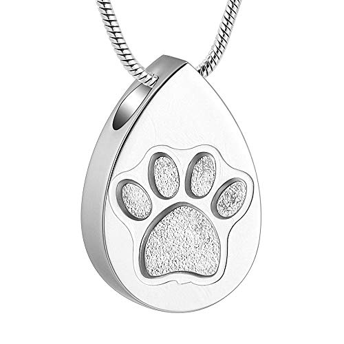 QQAQQ Small Urns for Ashes Pet Paw Teardrop Cremation Jewelry for Ashes Stainless Steel Keepsake Pendant Holder Ash for Dog Cat Memorial Urn Necklace-Silver_Necklace Box Funnel