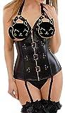 EUDOLAH Corsé Mujer de Piel Sintética con Correa Ajustable y Cremallera Bustier Steampunk Negro con Cabestro Talla Grande(Negro,Small)
