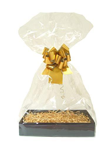GOUD DIY cadeau mand belemmert Kit - zwarte kartonnen lade, Manilla papier, gouden boog, cello tas & gouden geschenklabel (Medium - 30cm x 20cm x 6cm hoog)