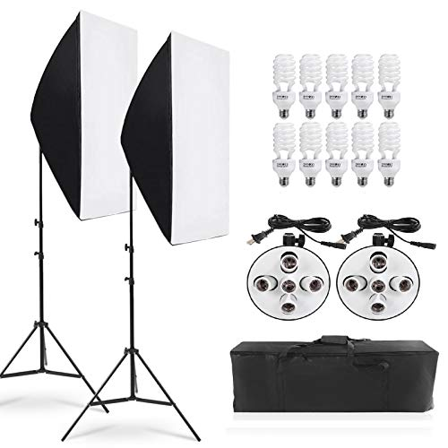 Andoer Photography Continuous Softbox Lighting Kit 5500K with 10pcs 45W Bulbs 5in1 Socket for Video Shoot Portrait Photo
