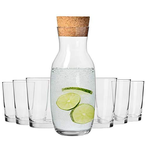 KROSNO 6 x DrankGlazen + Karaf met Kurken Deksel | Set van 6 x 250 ml en 1000 ml | Pure Collectie | Ideaal voor Thuis, Restaurant, Evenementen en Feesten | Vaatwasser en Magnetron Veilig