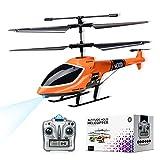 Helicóptero de Control Remoto con Giroscopio y Luces LED de 2,4G, Helicóptero de Altitud Fija de 3,5 canales, Despegue/Aterrizaje con un botón, Drone para interiores, Niños y Adultos de Regalo Naranja