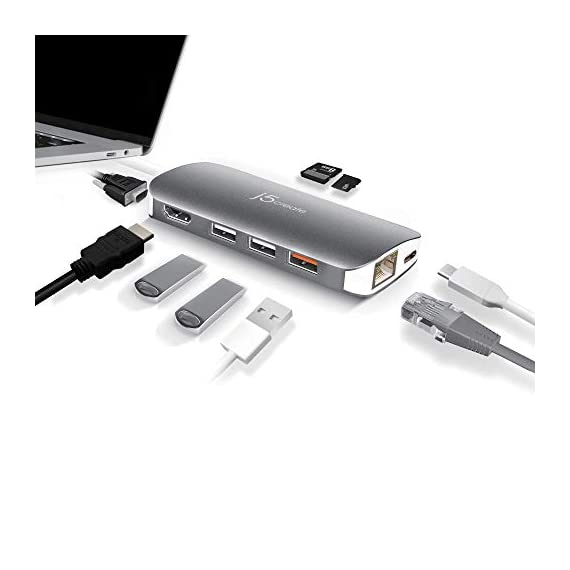 j5create USB C Hub Adapter Multi-Monitor 10-in-1 Port Docking Station 4K HDMI, VGA, Ethernet, USB 3.0, MicroSD, SD, USB… 8 Allows you to connect your laptop to an additional monitor via HDMI or VGA. USB C multi-adapter gives you 2 USB Type-A ports for additional peripherals and 1 USB Type-A port with BC 1.2 to fast-charge your mobile devices. Two USB 3.1 Gen 1 ports provide up to 5 Gbps transfer speed, which is 10x faster than USB 2.0