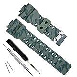 Correa de repuesto de resina natural para reloj Casio G-Shock GD120/GA-100/GA-110/GA-100C (Camouflage-Green)