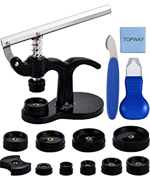 Watch Repair Tool Kit Watch Press Set with 12 Assorted Dies,Watch Back Case Closer Two Types of Watch Pry Opener for Opening and Closing Watch Back Pry Watch Battery Replacement Tool Kit