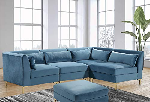 Iconic Home Girardi Modular Chaise Sectional Sofa with Ottoman Velvet Upholstered Solid Gold Tone Metal Y-Leg with 6 Throw Pillows, Modern Contemporary, Teal