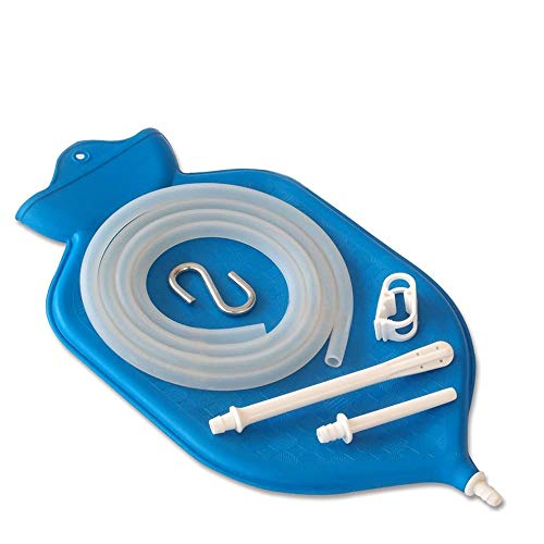 HealthAndYoga Superior Enema Bag Kit - 2 Quart Fountain Open Top – Silicone Hose and Fittings – Blue