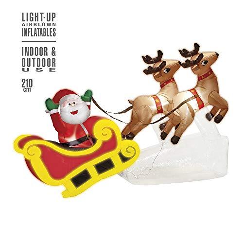 Widmann - opblaasbare kerstman op slee, decoratie met licht