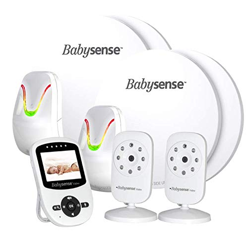 Babysense Set für Zwillinge V24 Babyphone mit Sensormatten und 2 Kameras: Babysene Video Babyphone + Bewegung & Atmungsüberwachung