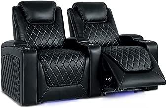 Valencia Oslo Home Theater Seating   Premium Top Grain Italian Nappa 11000 Leather, Power Recliner, Power Headrest, LED Lighting (Row of 2, Black)