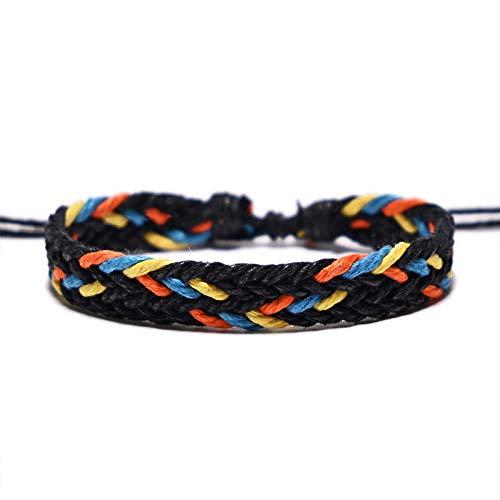 ANGYANG Woven Bracelet,Multicolor Cotton Rope Handmade Woven Black Adjustable Charm Bracelets Bohemia Jewelry Vintage Friendship Gift For Boy Girl Couples Men Women