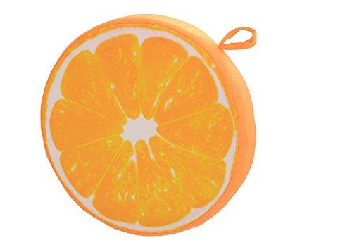 Lumanuby 1x 3D Druck Rund Sitzkissen Frucht Weiches Plüsch Kissenbezug Stuhlkissen Holz oder Obst als Wassermelone Zitrone Kiwiv für Zuhause Garten oder Café Size Durchmesser 33.0cm (Orange)