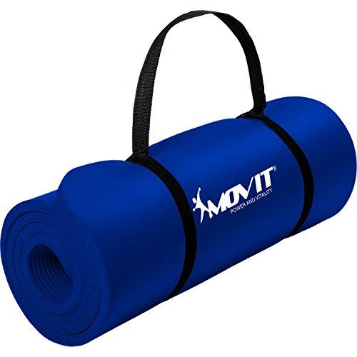 Movit Pilates Gymnastikmatte, Yogamatte, phthalatfrei, 183 x 60 x 1,0cm, Yoga Matte in Dunkelblau