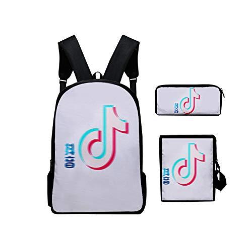 DuLi TIK Tok Fashion Student Backpack Shoulder Bag Pencil Case Three-Piece Set Portable De Couleur for Les Hommes Unisexe,7#