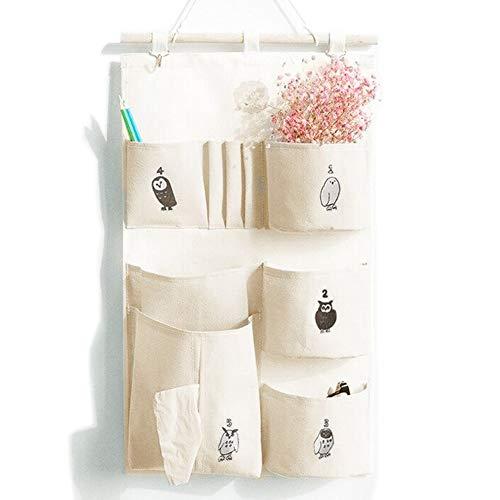 ALANSNOWのポケット付き掛けるオーガナイザー。布製で、クローゼットのオーガナイザーバッグに最適です。6個のポケット(自然)