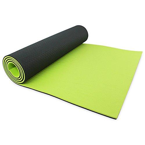Tappetino extra spesso GoFLX per Yoga / Pilates / Ginnastica con custodia inclusa (Negro & Verde)