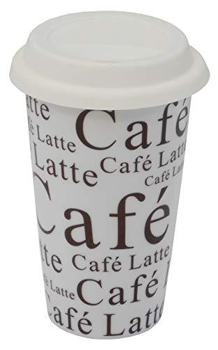 Emilys Gems  Kaffee to go Becher   250ml Porzellan   Spülmaschienenfest   Silikondeckel   Wiederverwendbar & nachhaltig   6 Designs   Doppelwandig   Kaffeeliebhaber - Latte Weis