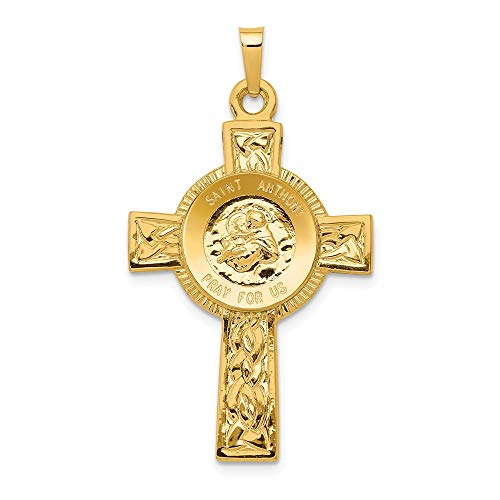 Halskette für Damen, 14 Karat Gelbgold, Kreuz mit St. Antonius Medaille, Anhänger für Halskette