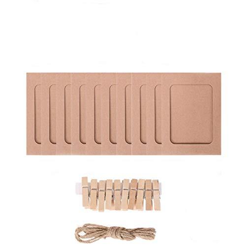 JieGuanG Papier-Bilderrahmen, 10 Stück, 11,5 x 15,5 cm, kreative Retro-Papier-Bildermatten zum Aufhängen, Albumrahmen mit Mini-Clips und Hanfseilen, braun