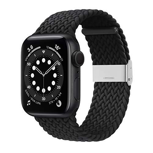 Bagoplus Compatible con Apple Watch iWatch bandas de 38 mm, 40 mm, 42 mm, 44 mm, mujeres y hombres, trenzadas de bucle único elástico pulsera deportiva para iWatch Series 6/SE/5/4/3/2/1 con hebillas.