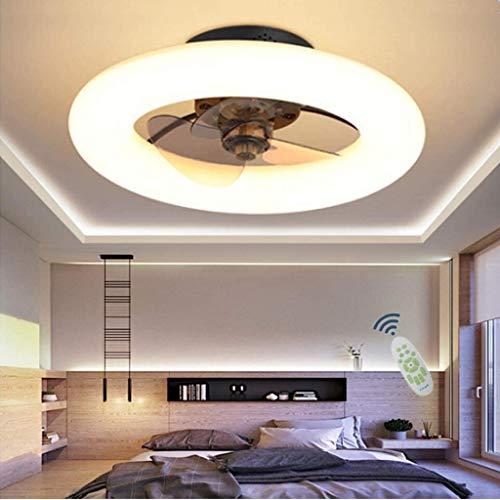 WJLL Ventiladores para el Techo con lámpara Dormitorio Led Ventilador de Techo con Luz y Mando Silencioso Reversible 6 Velocidades Ventilador Lámpara de Techo con Temporizador Regulable,Negro