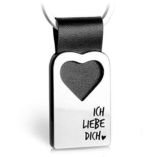 FABACH Herz Schlüsselanhänger mit Gravur aus Leder - Partner Glücksbringer Anhänger für Ihren Lieblingsmensch - Ich liebe dich