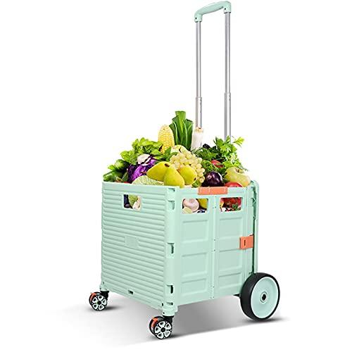 TTWLJJ Carrito de Compras Carrito de Compras Portátil Plegable Carrito con Ruedas de Gran Capacidad Carrito para Subir Escaleras de 55L para Viajes Cocina Supermercado,Green 6 Rounds