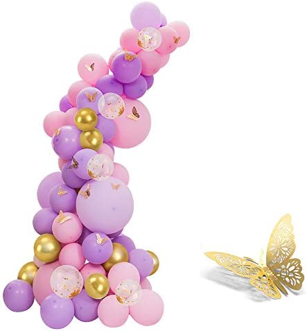 118pcs Pastel Pink and Purple Balloons Garland Arch Kit with gold butterfly stickers for Baby product image