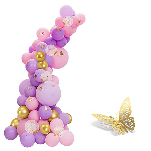 118pcs Pastel Pink and Purple Balloons Garland Arch Kit, with gold butterfly stickers for Baby Shower Girls Birthday Party Wedding Engagement Anniversary Christmas Festival Decorations