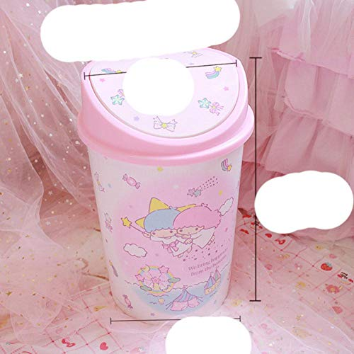 Dibujos animados My Melody Cinnamoroll Dog Little Twin Stars Kawaii Pink Plastic Household Bote de basura Cocina Dormitorio Papelera con tapa-Twin Stars A
