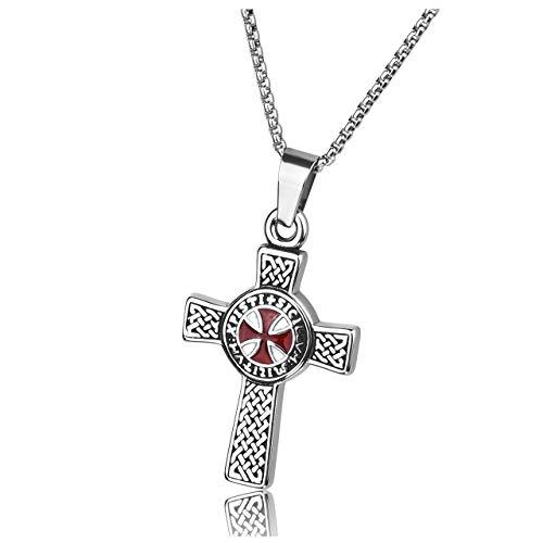 Zysta Herren Damen Edelstahl Tempelritter Schmuck - Keltisches Kreuz Anhänger Kette Keltischer Knoten Halskette Malta Kreuz Kette Amulett MIT 24