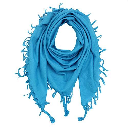 Superfreak Baumwolltuch - Tuch fein & dicht gewebt - mit Fransen - Schal - 100x100 cm - 100% Baumwolle Farbe: türkis