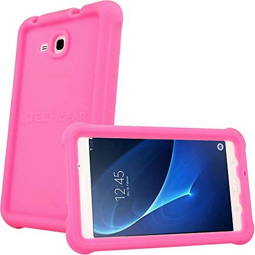TECHGEAR Schutzhülle für Samsung Galaxy Tab A 7,0 (T280 T285), [Kinderfreundlich] Leichtes Koffer Silikon Soft Shell Anti-Rutsch-Shockproof verstärkte Ecken + Displayschutzfolie. - Rosa