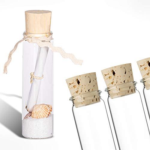Tuuters 25x Reagenzgläschen aus Laborglas mit Natur-Korken | Rollrand ✓ Glasfläschchen für Gastgeschenke ✓ (100 x Ø 30mm)