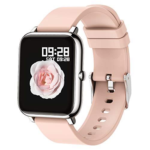 Popglory Montre connectée Smartwatch Cadiofréquencemètre Moniteur de Sommeil Pression Artérielle Compatible Android iOS pour Homme Femme Montre Intelligente