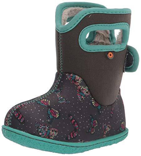 BOGS unisex child Baby Bogs Waterproof Snowboot Rain Boot, Butterflies-dark Gray, 7 Infant US