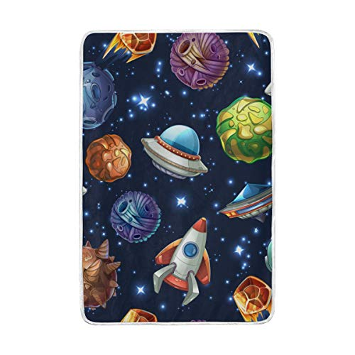 A Seed Throw Blanket Couch Bed Blanket Rocket Planets Space Star Printed for Boys Girls Kids Women...