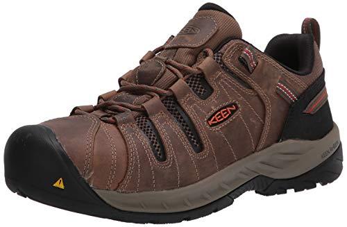 KEEN Utility Men's Flint II Low Steel Toe Non Slip Work Shoe Construction, Shiitake/Rust,13 D (M)