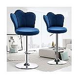 CMX-Silla Taburetes de Bar giratorios de Altura Ajustable, Juego de 2, taburetes de Isla de Cocina, sillas de Bar de Terciopelo con Altura de mostrador con Respaldo, Azul